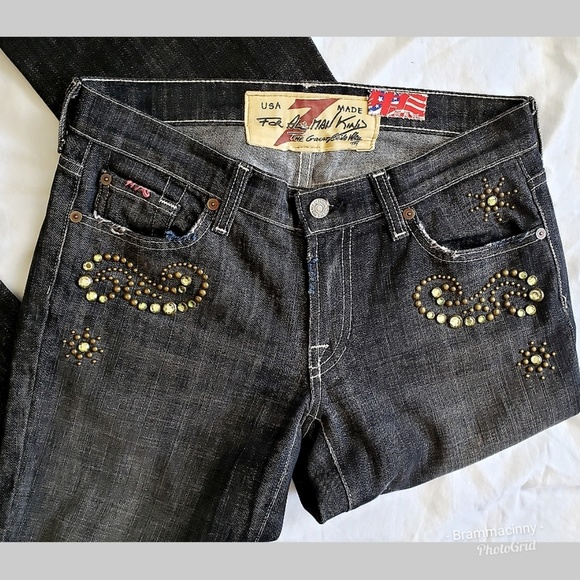 7 For All Mankind Denim - 7 FAMK The Great China Wall Jeweled Ripped Jeans